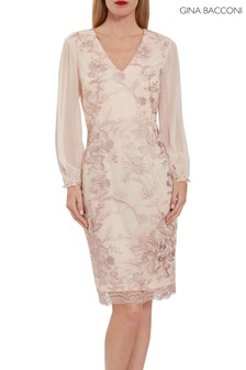 Gina Bacconi Pink Venetia Floral Embroidery Dress