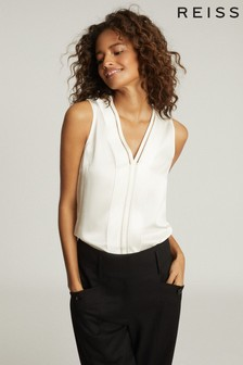 Reiss White Chelsea Silk Blend V-Neck Top