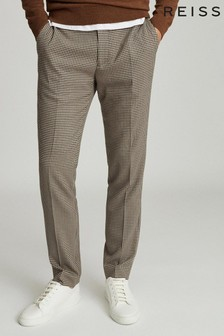 Reiss Chocolate Godalming Puppytooth Slim Fit Trousers