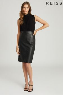 Reiss Black Reagan Leather Pencil Skirt