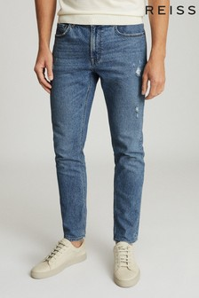 Reiss blauwe Asil slim-fit jeans met distressed-effect