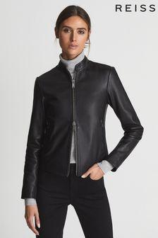 جاكيت بايكر بدون ياقة جلد Allie أسود من Reiss