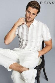 Reiss Ecru Marino Striped Zip Neck Polo Shirt