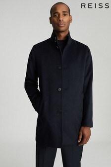 מעיל באורך מידי מצמר מעורב של Reiss דגם Bellugi בכחול כהה