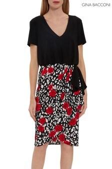 Gina Bacconi Red Nelia Wrap Skirt Bodice Dress