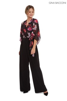 Gina Bacconi Black Chloe Floral Top Jumpsuit