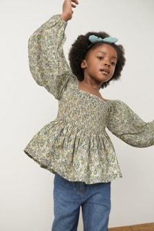 Хлопковая блузка со сборками (3-16 лет)