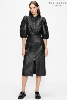 חולצה שחורה במראה עור עם שרוולי בלון באורך 3/4 דגם Prins של Ted Baker