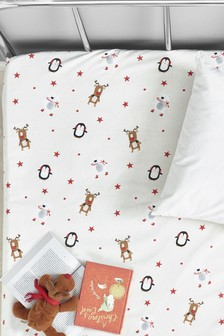 Brushed 100% Cotton Santa And Friends Fitted Sheet