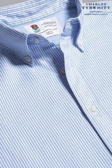 Charles Tyrwhitt Stripe Classic Fit RFU Button-Down Washed Oxford Shirt