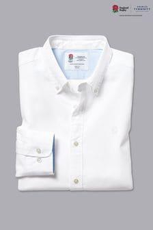 Charles Tyrwhitt England Rugby Plain Slim Fit RFU Button-Down Washed Oxford Shirt