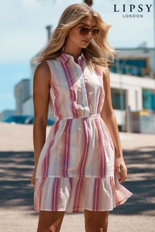 Lipsy Stripe Tiered Hem Shirt Dress