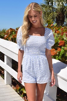 Lipsy Gingham Puff Sleeve Shirred Playsuit (P20193) | $50