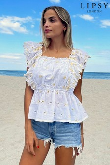 Lipsy Broderie Ruffle Top