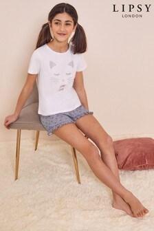 Lipsy Kurzes Pyjamaset mit Rüschen