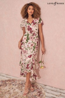 Love & Roses Floral Cape Maxi Dress