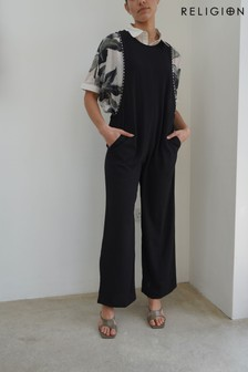 Religion Pinafore Jumpsuit With Stud Detailing And Pockets (P22616)   $125