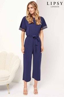 Lipsy Lace Trim Culotte Jumpsuit (P26105) | $58