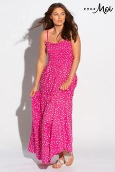 فستان ماكسي بحمالات يمكن إزالتها وتنورة طبقات منPour Moi