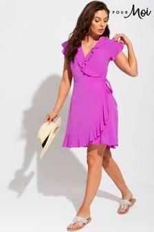 Pour Moi Textured Woven Wrap Beach Dress