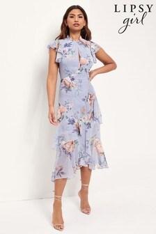 Lipsy Printed Keyhole Flutter Sleeve Dress