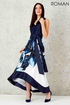 Roman Floral Placement Maxi Dress