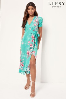 Lipsy Ruched Sleeve Wrap Midi Dress