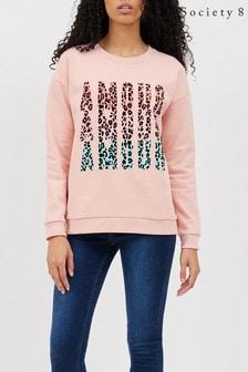 Society 8 Amour Slogan Printed Sweater