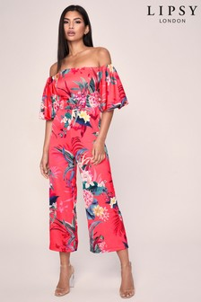Lipsy Printed Bardot Puff Sleeve Jumpsuit (P31964) | $84