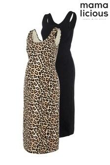Mamalicious Maternity Multi 2 Pack Stretch Jersey Dresses
