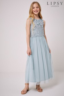 Lipsy Sequin Top Tulle Maxi Dress
