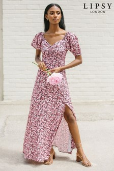 שמלת מקסי עם מחשוף בצורת לב ושרוולים תפוחים שלLipsy