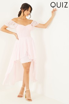Quiz Lace Sweetheart Dip Hem Dress