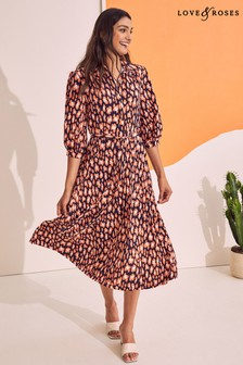 Love & Roses Jersey 3/4 Sleeve Pleated Midi Shirt Dress