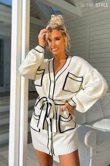 In The Style Billie Faiers White Contrast Cardigan Dress