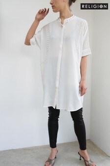 Religion鉚釘裝飾長上衣式短款連衣裙
