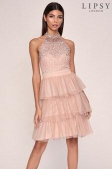 Lipsy Halter Ruffle Mini Dress