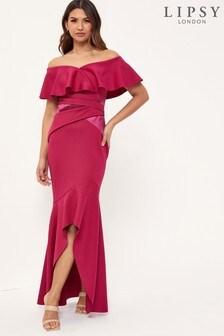 Lipsy Ruffle Bardot Maxi Dress