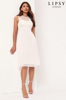 Lipsy Esme Lace Sleeveless Mesh Midi Bridesmaid Dress
