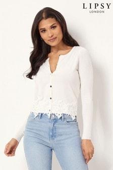 Lipsy Lace Hem Button Up Cardigan