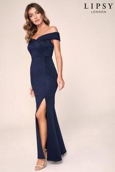 Lipsy Bardot Scuba Maxi Dress
