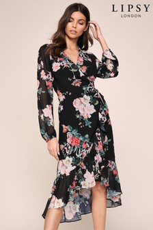 Lipsy Long Sleeve Wrap Midi Dress