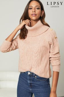 Lipsy Knitted Cable Military Button Cowl Neck Jumper