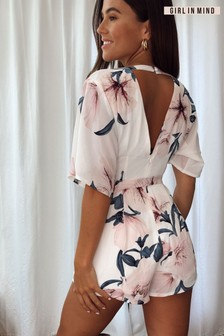 Girl In Mind Floral Playsuit (P40484) | $53