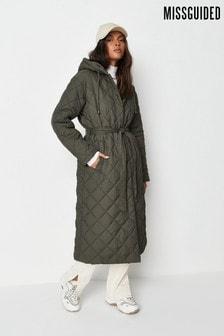 Pikowany płaszcz z kapturem Missguided w romby
