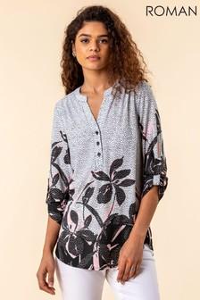 חולצה בהדפס מנוקד שלRoman עם סיומת פרחונית
