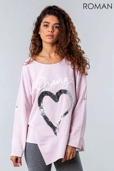 Roman Sequin Heart Asymmetric Lounge Top