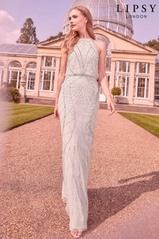 Lipsy Embellished Halter Bridesmaid Dress