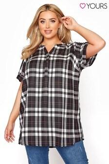 חולצת משבצות עם שרוול קצר למידות גדולות של Yours