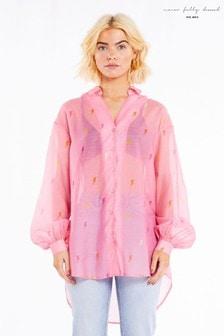 חולצת אוברסייז שלNever Fully Dressed בצבע וורוד עם דוגמת ברקים